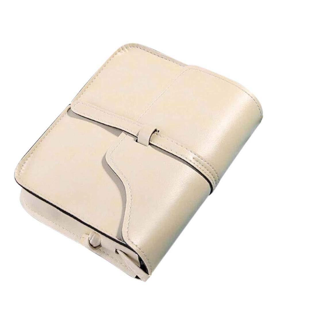 Vintage Crossbody, AgrinTol Vintage Purse Bag Leather Crossbody Shoulder Messenger Bag (Beige)