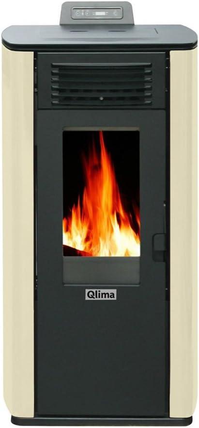 Qlima ELEONORA74-IVOR - Estufa de pellets, color marfil con mando a distancia, calefacción para casa