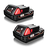 FLAGPOWER 2Pack 18V 2.0A Lithium-ion Cordless Tool 18V Replacement Battery for Milwaukee M18 XC 48-11-1811 48-11-1815 48-11-1820