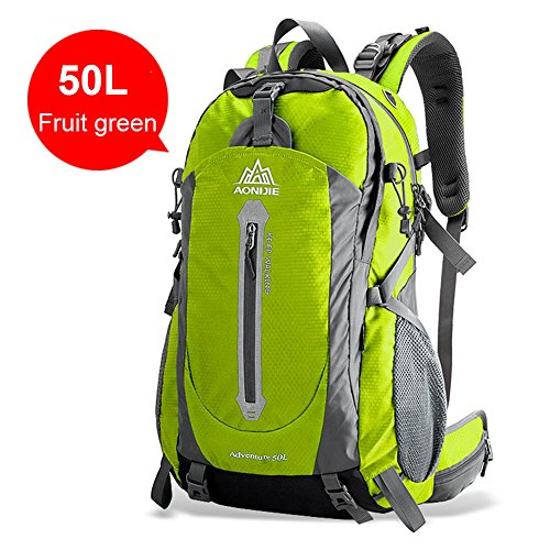 AONIJIE Outdoor Sport Bag Waterproof Nylon Camping Backpack 40L 50L Cycling Hiking Mountaineering Pack+Raincover Whistle D-Buckle Kerchief(Gifts),Fruit green,50L For Sale