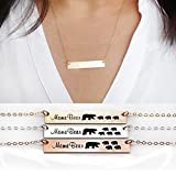Mama Bear Necklace-Gold Bar Necklace-Personalized Gift for Mom-Baby Bears Cubs -14K Gold Filled-Rose Gold Filled,Sterling Silver-CG239N