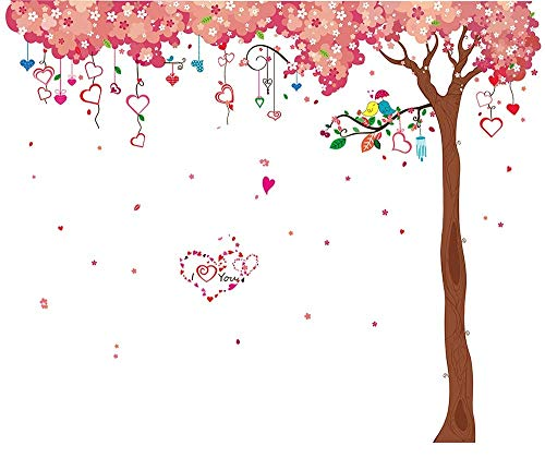 LiveGallery Large Tree Wall Decals Removable Pink Cherry Flower Wall Stickers DIY Heart and Birds Wall Decor 3d art for Home Wall Bedroom Girls Nursery Rooms Living Room Decoration 6 sheets of 12