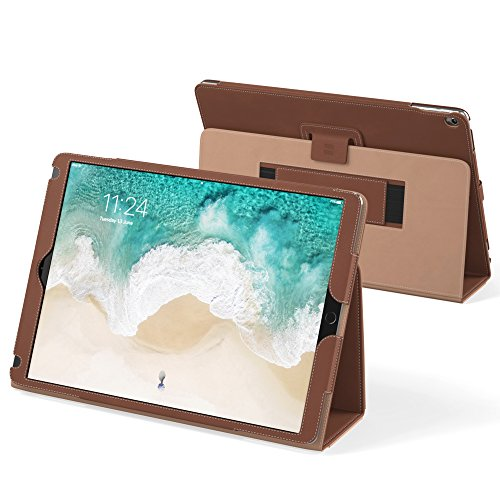 iPad Pro 12.9 2017 and 2015 Case, Snugg Leather iPad Pro 12.9 2017 and 2015 Case Cover Protective Flip Stand Brown for Apple iPad Pro 12.9 2017 and 2015
