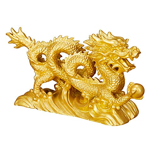 Feng Shui Resin Chinese Dragon Loong Statue Symbol of Prosperity Home Office Decor(Gold)