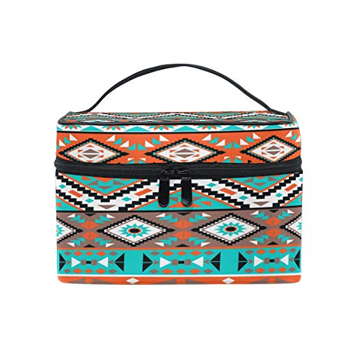 JOKERR Makeup Bag, Tribal Aztec Geometric Pattern Portable Travel Case Large Print Cosmetic Bag Organizer Compartments for Girls Women Lady ()