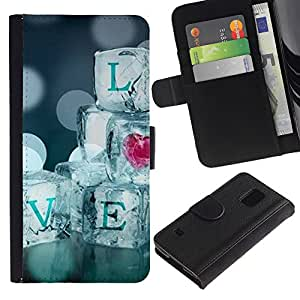 Billetera de Cuero Caso Titular de la tarjeta Carcasa Funda para Samsung Galaxy S5 V SM-G900 / Quote Ice Bling Heart Blur Diamonds / STRONG