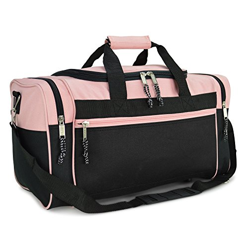 "DALIX 19"" Blank Sports Duffle Bag Gym Bag Travel Duffel with Adjustable Strap in Pink"