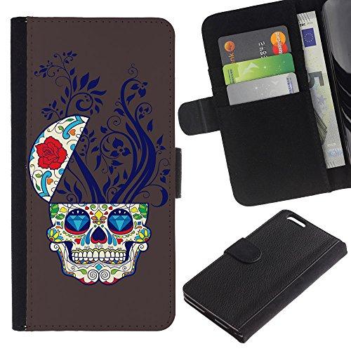 EuroCase - Apple Iphone 6 PLUS 5.5 - Cool Sugar Skull - Cuir PU Coverture Shell Armure Coque Coq Cas Etui Housse Case Cover