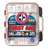 First Aid Kit Hard Red Case 326 Pieces Exceeds OSHA and ANSI Guidelines