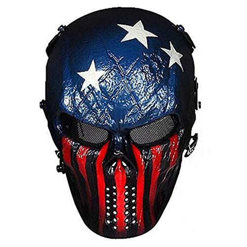 Keylleen Airsoft Mask Tactical Skull Overhead Metal Mesh Eye Protection Game Mask (Color 3)
