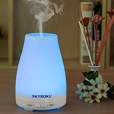 Skyroku Essential Oil Diffuser Aromatherapy Diffuser Cool Mist Aroma Humidifier with 7 Colors Changing, Mist Mode Adjustment and Auto Shut-off