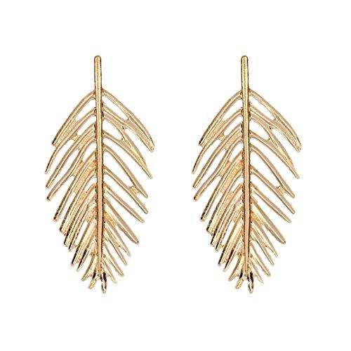 Hollow Fancy Earrings - Bobury 1 Pair Vintage Gold Silver Hollow Leaf Earrings Girl Alloy Ear Rings Lady Wedding Gift Jewelry