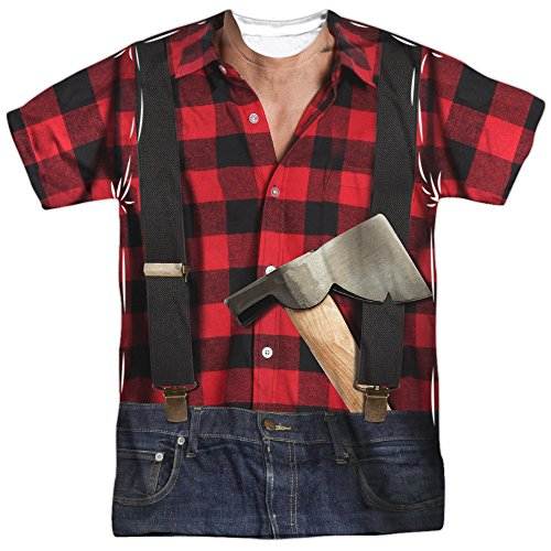 Lumberjack Costume Unisex Adult Front Only Sublimated T Shirt for Men and -