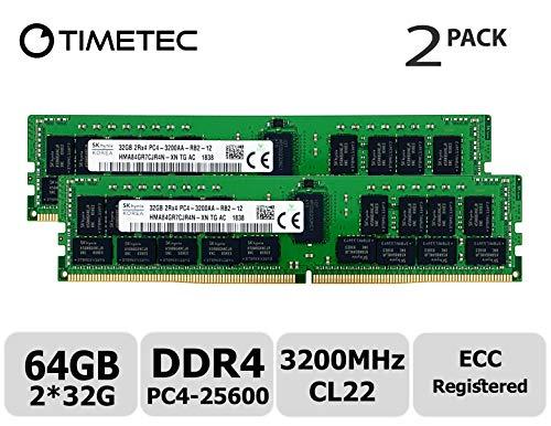 Timetec Hynix Original 64GB KIT(2x32GB) DDR4 3200MHz PC4-25600 Registered ECC 1.2V CL22 2Rx4 Dual Rank 288 Pin RDIMM Server Memory RAM Module Upgrade (64GB KIT(2x32GB))