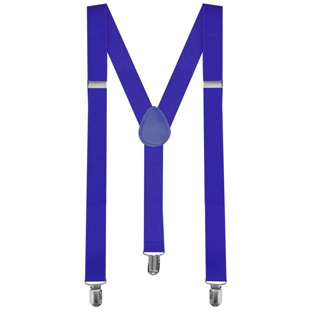 tumundo 1 Stück Hosenträger mit 3 Clips Dunkelblau Blau Breit Damen Herren Y-Form Elastisch für Hose Unisex Träger J1breitdunkelblau