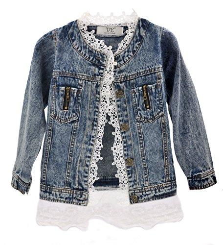 Artfasion Baby Girls/Girls Denim Jean Jacket Lace Cowboy Jacket Denim Dress Coat (9-10 years/140cm, (Holiday Denim Jacket)