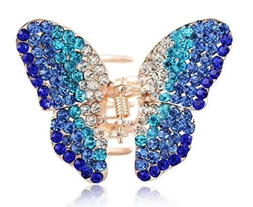 Suoirblss 1PC Elegant Butterfly Hairpin Fancy Rhinestones Claw Clip Jaw Clips for Women Lady Girls (Blue) - Elegant Butterfly Rhinestones