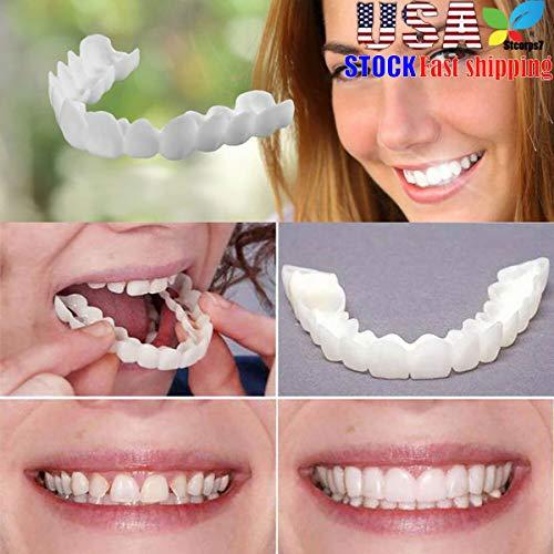 (Veneers Snap in Teeth, STCORPS7 Braces Veneers Dentures Fake Teeth Smile Serrated Denture Teeth Top and Bottom Comfort Fit Flex Teeth Socket to Make White Tooth Beautiful Neat (2pcs.))