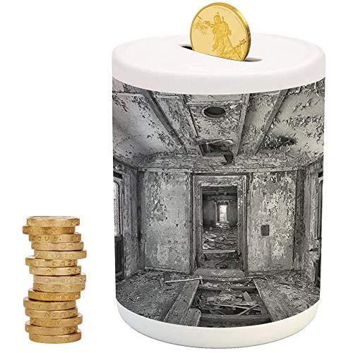 Rustic Home Decor,Piggy Bank Coin Bank Money Bank,Printed Ceramic Coin Bank Money Box for Cash Saving,Interior of an Antique Aged Railway Wagon Burnt Destruction Picture -