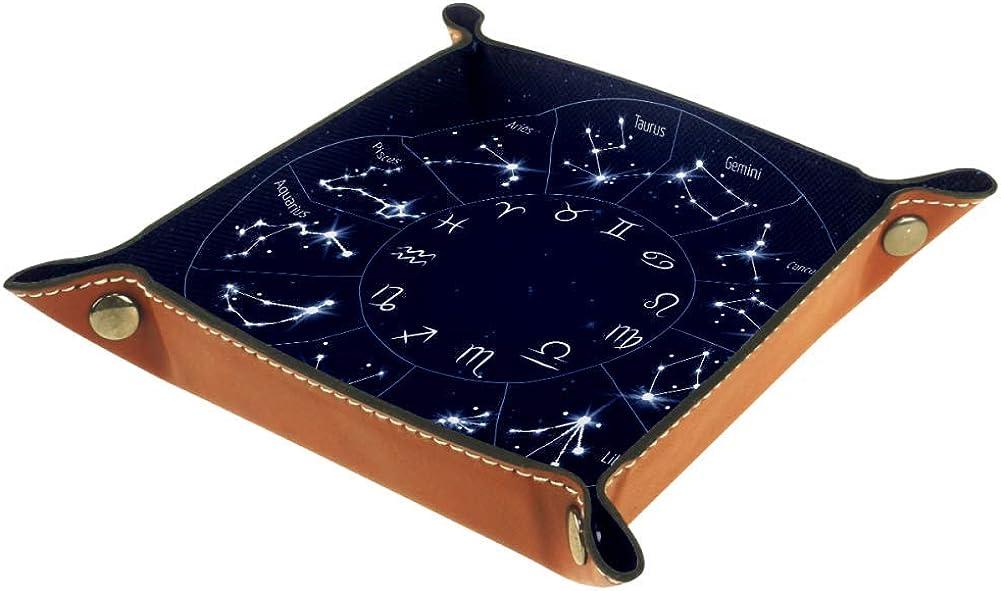 AMEILI - Bandeja de piel para guardar llaves, teléfono, monedas, relojes, etc., diseño de zodiaco de café