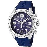 Men's Eograph Chronograph Blue Grid Dial Blue Rubber, Watch Central