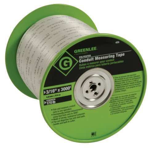 Greenlee 435 Polyester Conduit Measuring Tape, 3/16-Inch By 3000-Feet by Greenlee