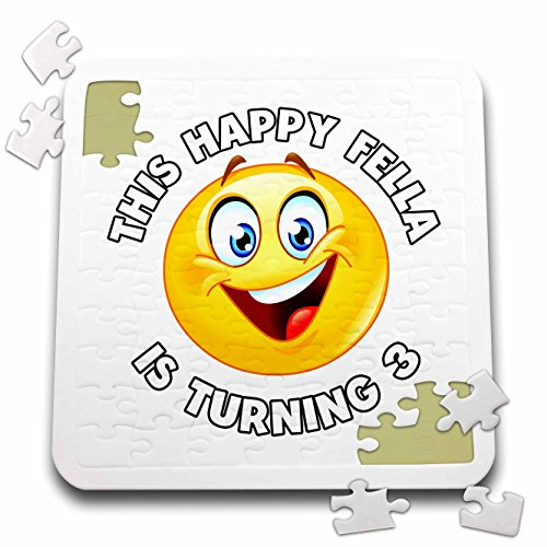 Carsten Reisinger - Illustrations - Fun Birthday This Happy Fella is turning 3 Party Celebration - 10x10 Inch Puzzle (pzl_261539_2) by 3dRose