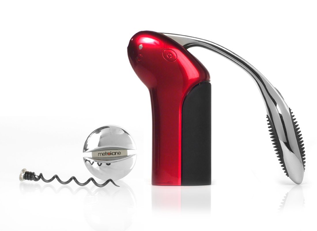 Rabbit Original Vertical Lever Corkscrew Wine Opener with Foil Cutter and Extra Spiral (Candy Apple Red)