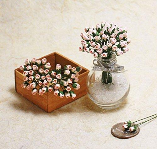 ChangThai Design 50Sweet 2Tone Tiny Rose Scrapbook Crafts 5mm Mulberry Paper Flower Card Dollhous