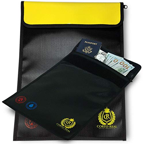 """PREMIUM Fireproof Document Bag with Bright Yellow Lid_Non-Itchy Safe Money Envelope – Money, Jewelry & File Holder – 15""""x11"""" High Grade Water-Resistant Silicone Coated Valuables Bag"""