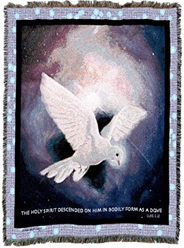 (Pure Country Weavers | Holy Spirit White Dove Luke 3:22 Woven Tapestry Throw Blanket with Fringe Cotton USA 72x54)