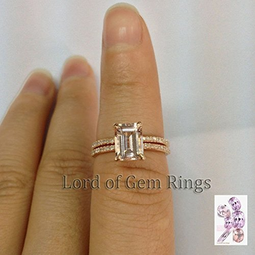 Emerald Cut Morganite Engagement Ring Bridal Set Contoured Matching Bandd 14K Rose Gold 6x8mm ()