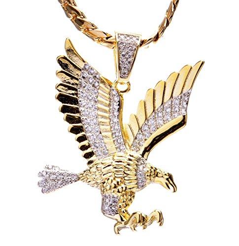 Men's 14kt Gold Plated Mini Eagle Pendant Miami Cuban Chain Set BCH 1127