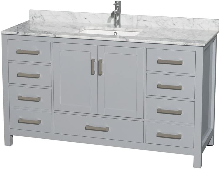Wyndham Collection Sheffield 60 inch Single Bathroom Vanity in Gray Undermount Square Sink White Carrara Marble Countertop and No Mirror