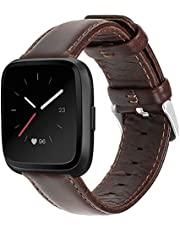 UMAXGET Leather Band Compatible with Fitbit Versa/Versa 2/ Versa Lite/Versa Special Edition Watch, Classic Genuine Leather Strap with Stainless Steel Buckle Wristband for Women Men