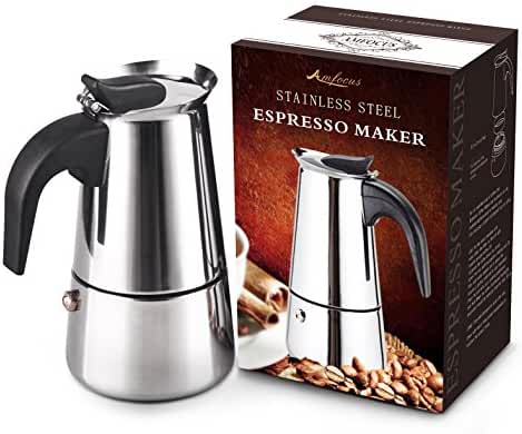AMFOCUS Stovetop Espresso Maker Coffee Percolator Pot, Stainless Steel, 2 Servings