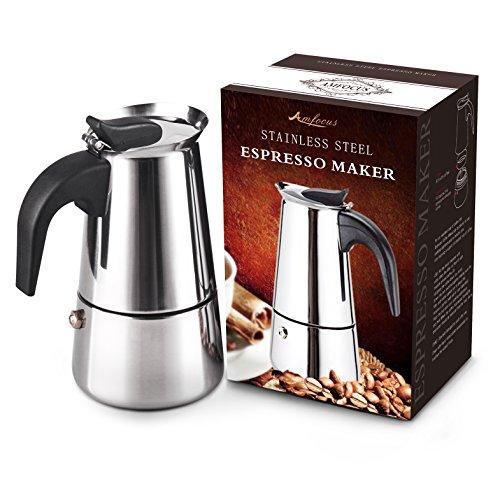 AMFOCUS Stovetop Espresso Maker Pot - Stainless Steel - 2