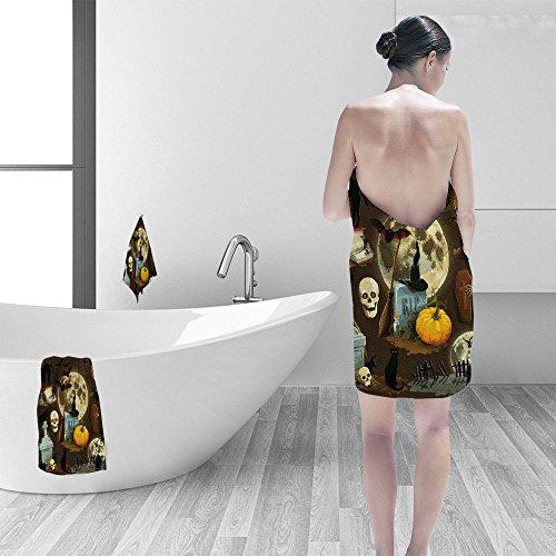 Nalahomeqq Bath towel set Clip art illustrations for Halloween celebration 3D Digital Printing No Chemical OdorEco-Friendly Non Toxic13.8 x -