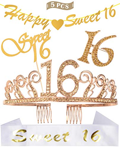16th Birthday Decorations Party Supplies | Golden 16th Birthday Tiara | 16th White Satin Sash Sweet 16 | Gold Glittery Happy Sweet 16 Banner | Sweet 16 Cake Topper | -