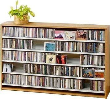 4297b463a0 616664 3重タイプ5段 スライド式CD&コミックラック /(サイズはありません ア:ライトブラウン/) 幅120cm [CD ...