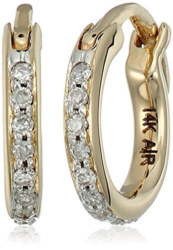 amond Huggie 14k Yellow Gold Hoop Earrings (1/10cttw, H-I Color, I2-I3 Clarity) (Adina Reyter : Jewelry Earrings)