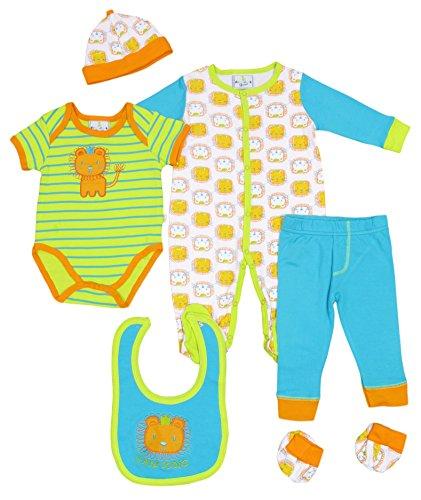 Duck Duck Goose Boys 7pc Onesie, Bodysuit, Pants, Bib, Hat Gift Set-Lion-3-6