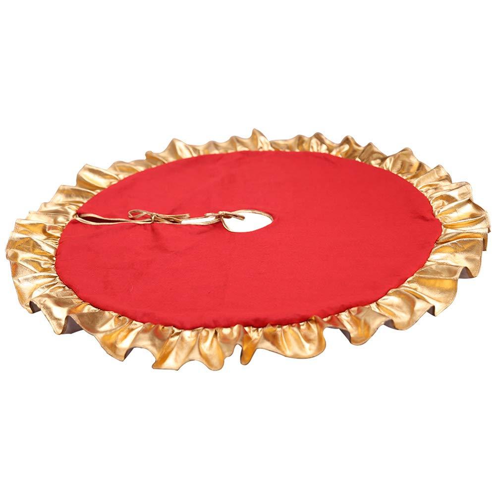 FABSELLER Decorazione Natalizia 90/cm Albero di Natale Gonna Rosso Oro Edge Albero Gonna Scene Arrangement Puntelli