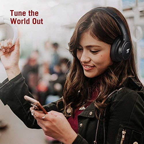 TaoTronics Active Noise Cancelling Bluetooth Headphones HiFi Stereo Wireless Over Ear Deep Bass Headset w CVC Noise Canceling Microphone 30 Hour Playtime for Travel Work TV Renewed