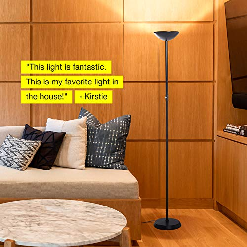 Brightech SkyLite - Bright LED Torchiere Floor Lamp for Offices – Modern, Dimmable Reading Light for Living Rooms & Bedrooms - Tall Standing Pole Light - Jet Black by Brightech (Image #4)