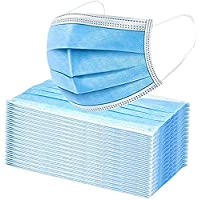 Premium Pack of 100 Single Use Disposable Face Mask, Effective Filtration, Soft on Skin, Bulk Pack 3-Ply Masks Facial Cover with Elastic Earloops For Home, Office, School, and Outdoors (100 Pack Blue)