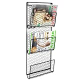 Cheap MyGift Metal Chicken Wire Wall Mounted 3-Tier Magazine Holder, Newspaper Rack, Document File Organizer