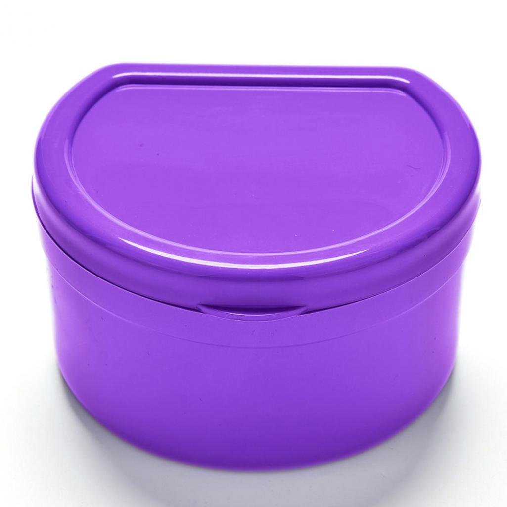 Braceus 1 Pc Dental Orthodontic Retainer Denture Storage Box Mouthguard Container Case (Purple)