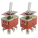 SODIAL(R) 2 Pcs AC 250V 15A Amps ON/OFF/ON 3 Position DPDT Toggle Switch