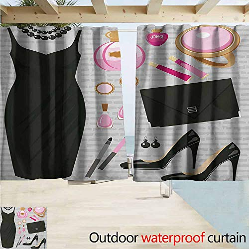- AndyTours Outdoor Blackout Curtains,Heels and Dresses Black Smart Cocktail Dress Perfume Make Up Clutch Bag,Rod Pocket Energy Efficient Thermal Insulated,W72x45L Inches,Black Pale Pink Pale Brown